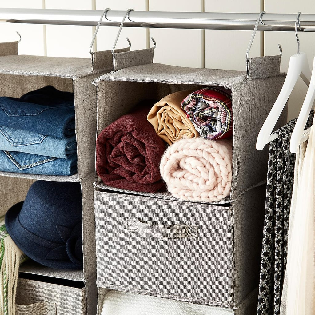 Grey Three-Compartment Hanging Sweater Organizer