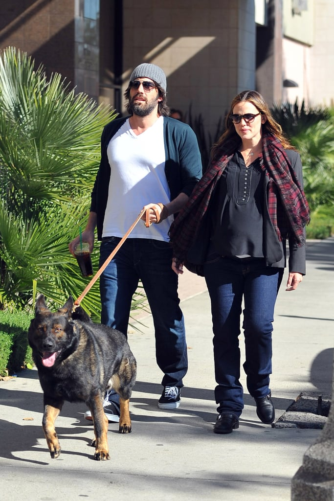 "Jennifer Garner and Ben Affleck took their German Shepherd out for a walk in LA yesterday. The pup is a new addition to the Garner-Affleck family, who already have another dog named Martha Stewart. Jennifer recently chatted about how the canines get along at home on The Tonight Show and she also touched on the next family member due in the Spring. Jennifer shared that her daughters have already started thinking of names that are ""definitely Disney"" and that the whole clan is excited for the baby's arrival. Ben and his girls will have something else to celebrate first though, if the New England Patriots win the Super Bowl. They'll be playing the New York Giants on Feb. 5, which is sure to be a big day in the Tom Brady-loving Garner-Affleck household."
