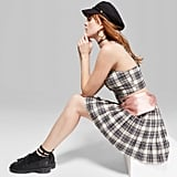 Plaid Strappy Cropped Top and Pleated Mini Skirt