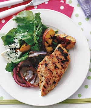 Chicken With Grilled Peaches and Arugula Recipe