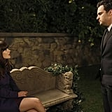 """Jess (Zooey Deschanel) and Nick (Jake Johnson) have a serious conversation in """"Party Time."""""""