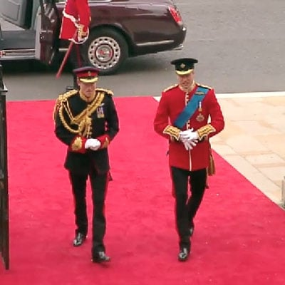 Prince William and Prince Harry Arriving at Royal Wedding ...