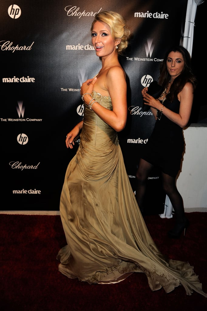 Paris Hilton went to the 2012 Golden Globes after party hosted by the Weinstein Company.