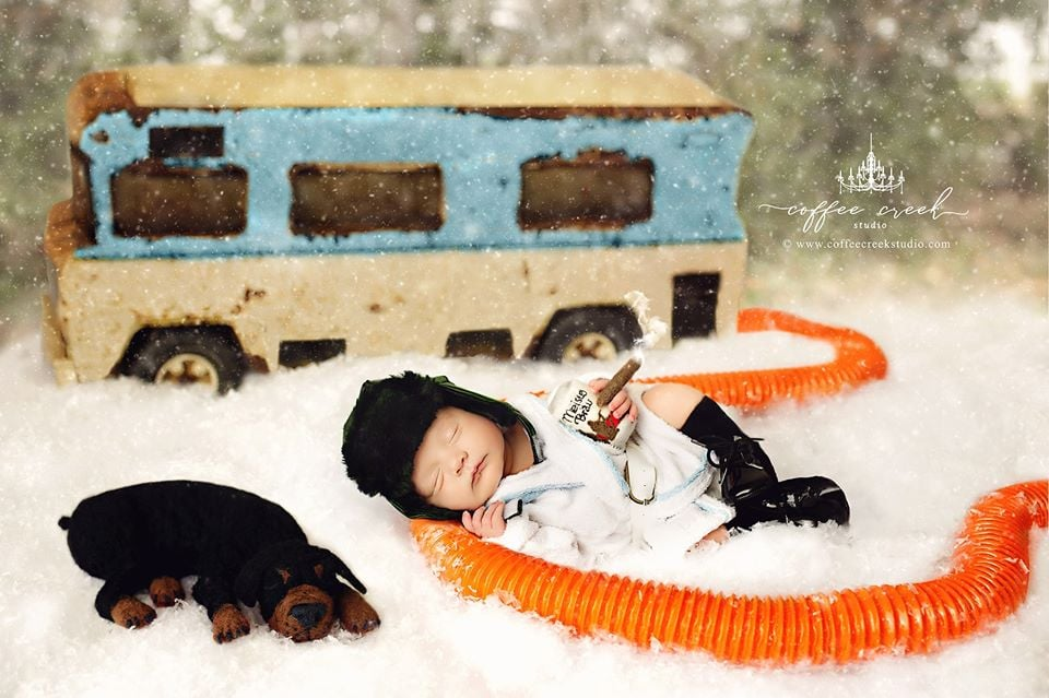 "Photographer Amy Haehl of Coffee Creek Studio certainly has a knack for getting holiday-themed newborn shoots just right. Recently, she staged an adorable series based on National Lampoon's Christmas Vacation, and you can bet Clark Griswold would be proud.  ""The planning of these photos has taken well over a year and I'm SO excited to finally release them to all of you!"" Amy wrote in a Facebook post. ""I love having a good laugh and love sharing the laughter with all of you. Figuring out all of the perfect little details and pulling this off has been quite an exhausting process and all I can say is, 'Hallelujah! Holy sh*t! Where's the Tylenol?'"" Pretty cute, right? Last year, Amy staged an equally as adorable newborn series modeled after A Christmas Story — have you seen the Ralphie Build-A-Bear yet?! — and yes, that is the sweetest baby we've ever seen! Read through to get a peek at the adorable photos.       Related:                                                                                                           This Photographer Photoshopped Full Sets of Teeth on Newborns, and LOL, Yikes"