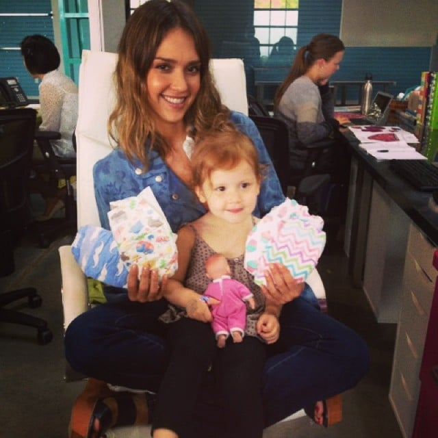 Jessica Alba had a visitor at work — Haven Warren — to help show off her company's latest diaper designs. Source: Instagram user jessicaalba