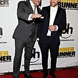 Ben Affleck and Justin Timberlake shared laughs and smiles at the red carpet premiere of Runner Runner in Las Vegas.