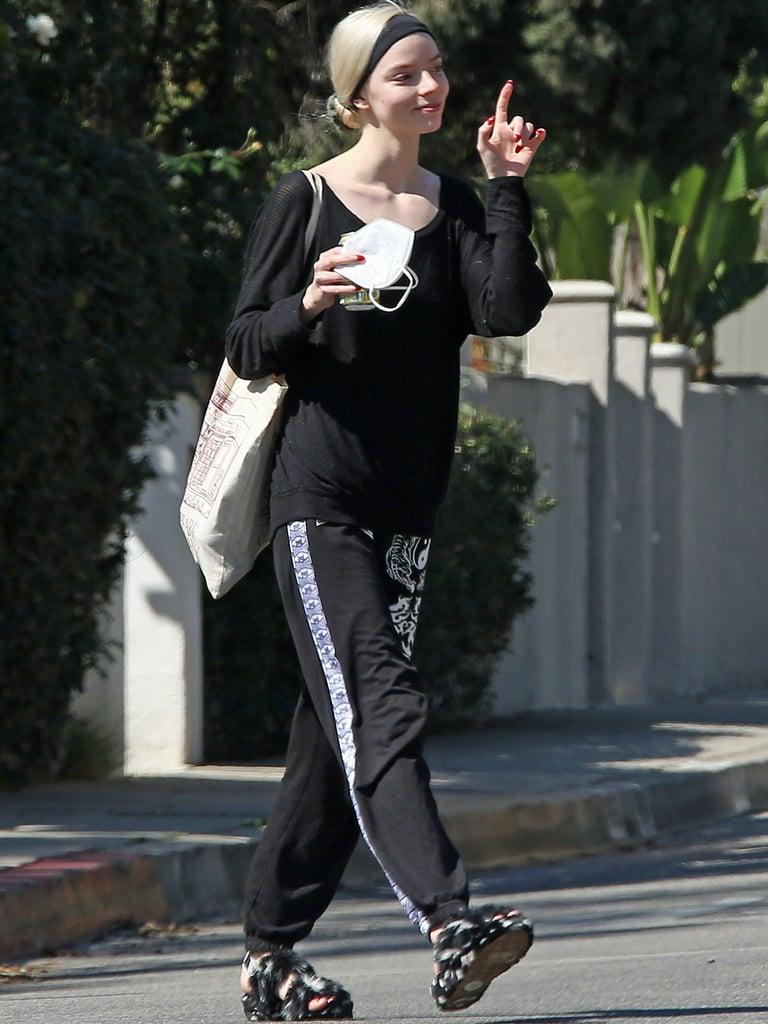 Anya Taylor-Joy Wearing UGG's Oh Yeah Spots Slide Slipper