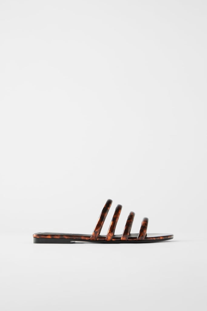 Zara Flat Sandals with Tortoiseshell Tubular Straps