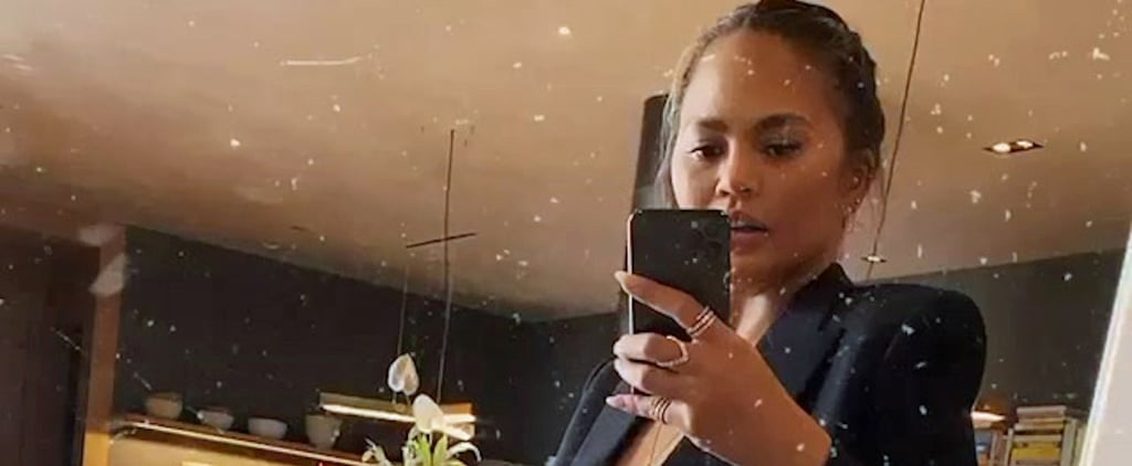 Chrissy Teigen Shows Her Baby Bump in Leggings and a Blazer