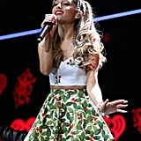 Ariana Grande looked purrfectly festive at Jingle Ball in Saint Paul, MN.