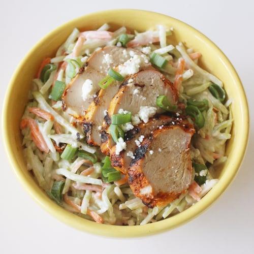 Chicken Slaw Salad With Blue Cheese Yogurt Dressing