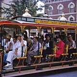 One guest smoked a cigarette while taking a trolley ride down Main Street, USA.