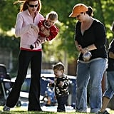 Red hot mama Marcia Cross took twins Eden and Savannah and parked it up in the California sunshine.