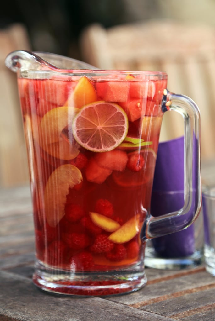 Watermelon, Peach, and Raspberry Rosé Sangria