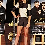 Kristen Stewart posed for photos with Breaking Dawn Part 2 posters in Japan.
