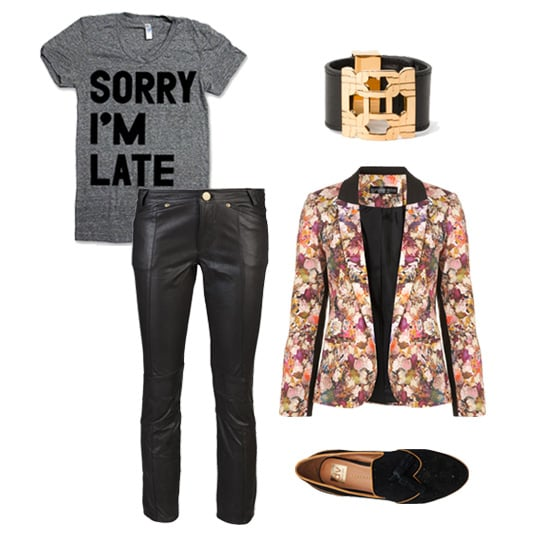 For a laid-back Winter weekend look, we love a pair of cropped leather pants with a cheeky tee and fun floral blazer. Add comfy tasseled loafers and an edgy cuff and call it a (stylish) day. Shop this look:  Print Liberation Sorry I'm Late Tee ($22) Milly Leather Cuff ($165) Topshop Co-Ord Floral Blazer ($136) Dolce Vita Millie Tassel Loafer ($80) 10 Crosby by Derek Lam Cropped Leather Trouser ($795)