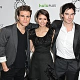 Paul Wesley, Nina Dobrev, and Ian Somerhalder posed for photos at PaleyFest.