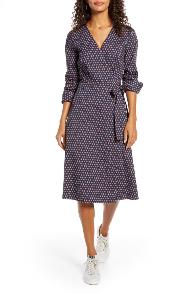 1901 Poplin Long Sleeve Wrap Dress