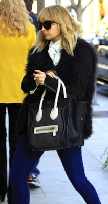 Nicole Richie in Fur Helmut Lang Jacket, House of Harlow Booties, and Celine Handbag
