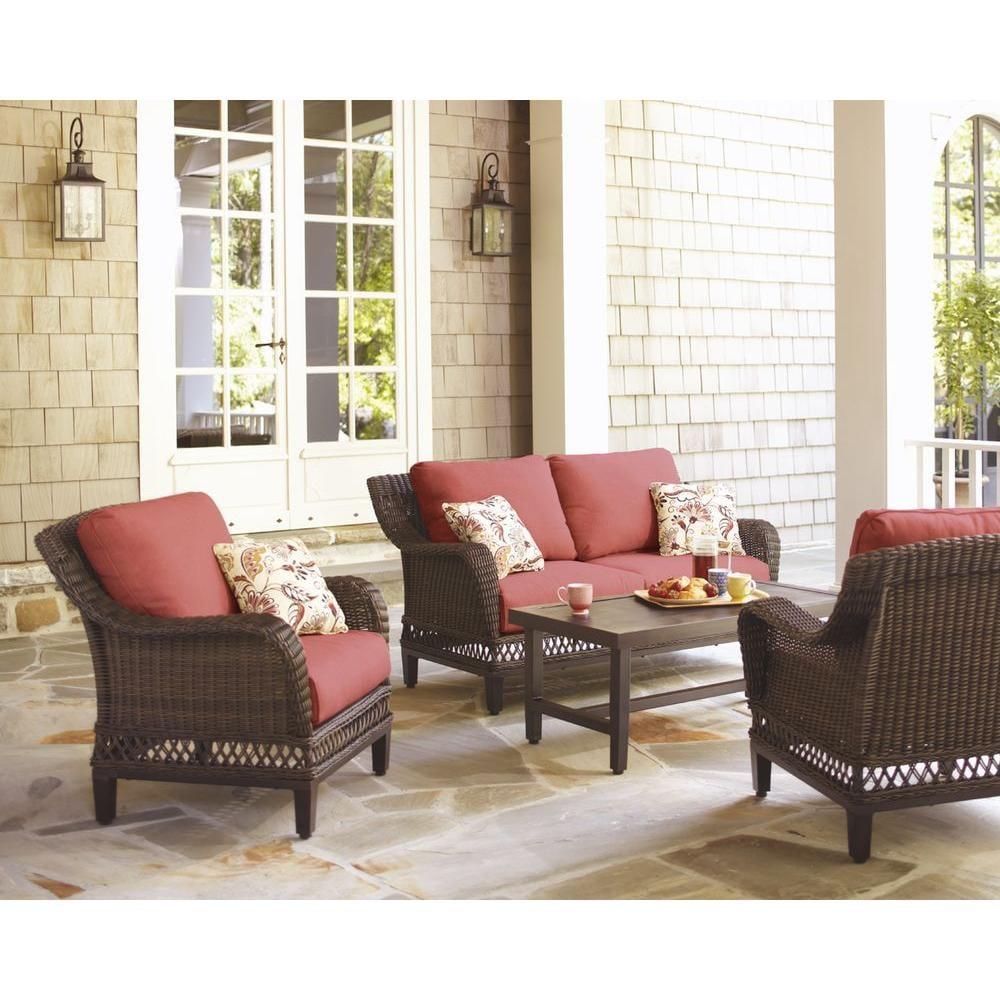 Hampton Bay Woodbury 4-Piece Wicker Outdoor Patio Seating Set
