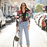 A Plain Pair to Offset a Print-Busy Cropped Blazer and Boots