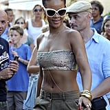Rihanna Wears a Bikini Top in Sardinia, Italy, Pictures