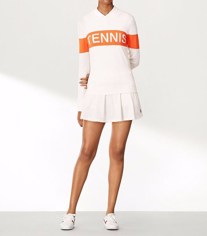 Performance Cashmere Tennis Sweater and Pleated Jersey Skirt
