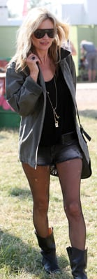 Kate Moss Wears Jean Shorts and Boots at Glastonbury