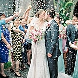 Even Colorful Confetti Can't Hide the Dainty Blossoms on This Bride's Dress
