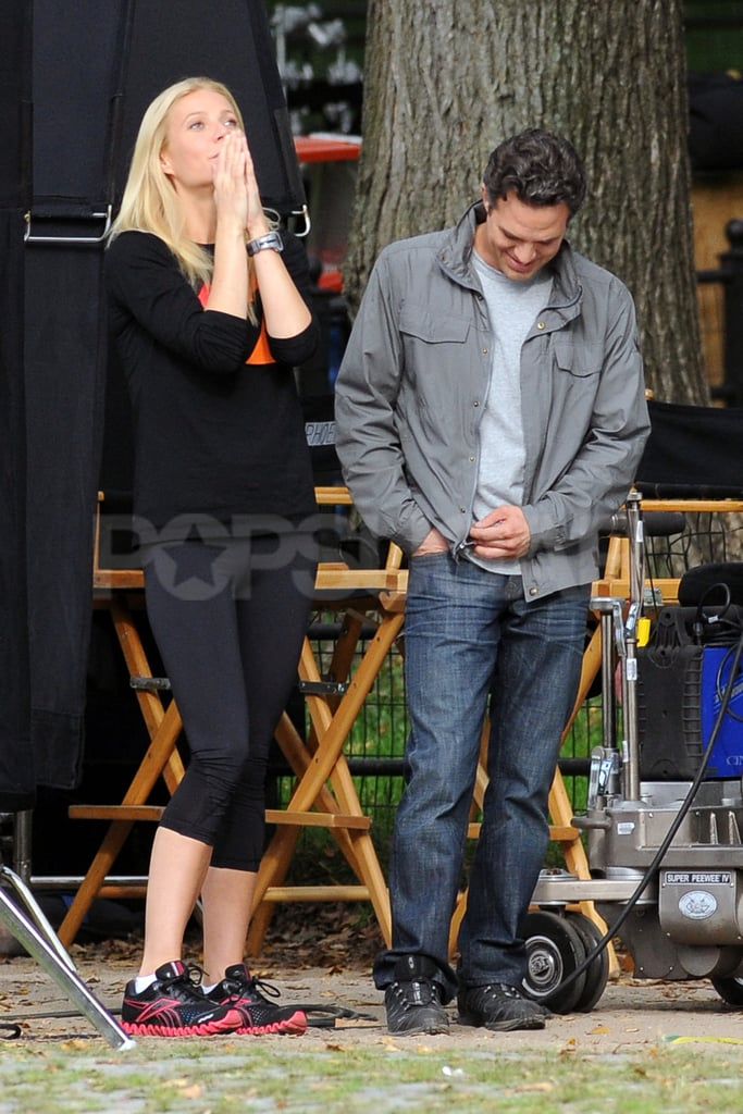Gwyneth Paltrow and Mark Ruffalo hung out on the set of Thanks For Sharing.