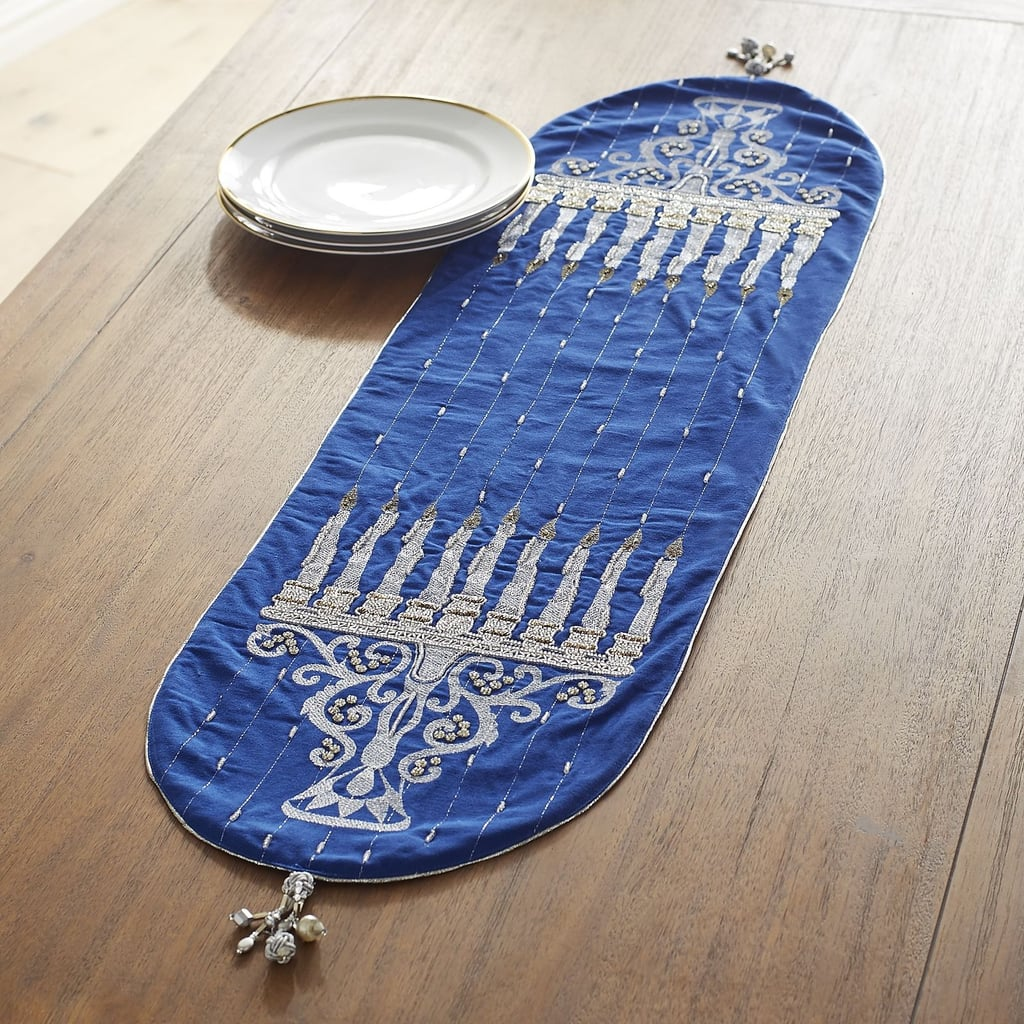 Hanukkah Embroidered Menorah Table Runner ($50)