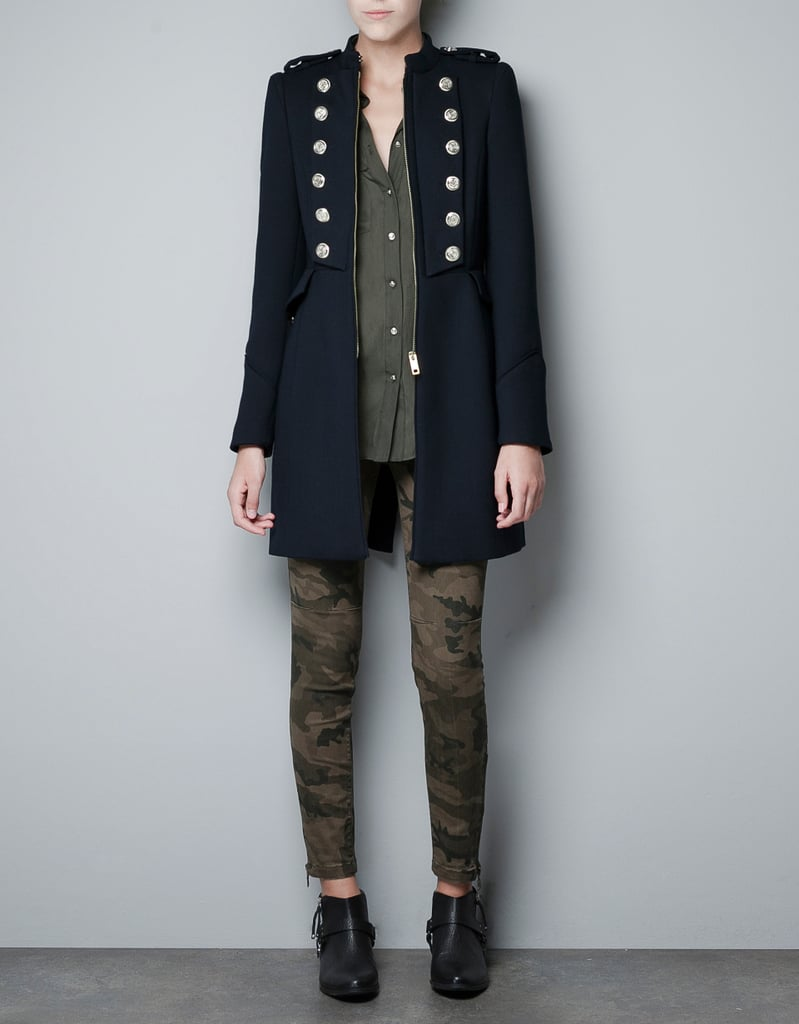 A clean, crisp coat with oversize gold buttons that give an instant dose of military-chic. Zara Military Coat ($159)