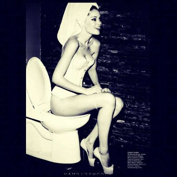 Doutzen Kroes is hot, even when she's pretending to be on the toilet. Source: Instagram user doutzenkroes1