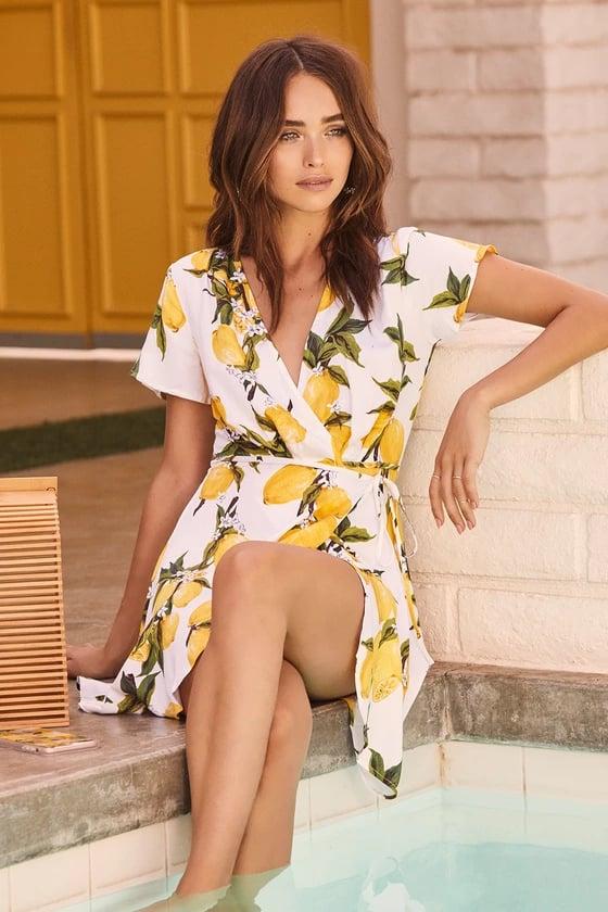Lulu's A La Tart White and Yellow Lemon Print Wrap Dress