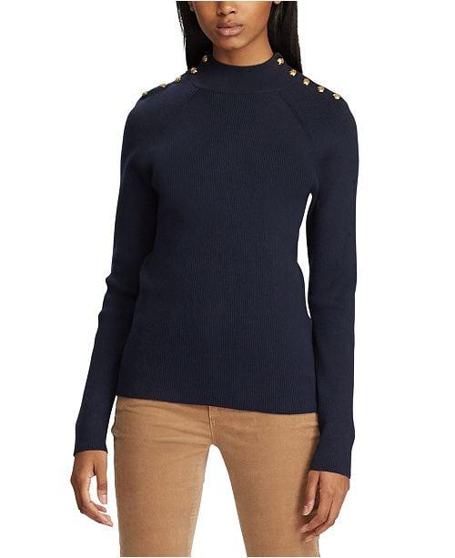 Lauren Ralph Lauren Mockneck Button-Trim Sweater