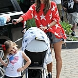Alessandra Ambrosio headed to the car with daughter Anja and son Noah in LA.