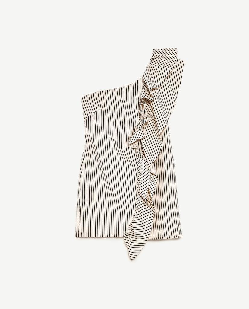 Asymmetrical Denim Dress With Stripes