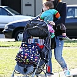 Isla Fisher went for a walk with youngest child Elula Cohen.