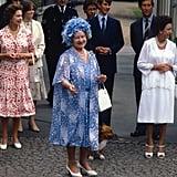 مع الملكة الأم، عام 1980