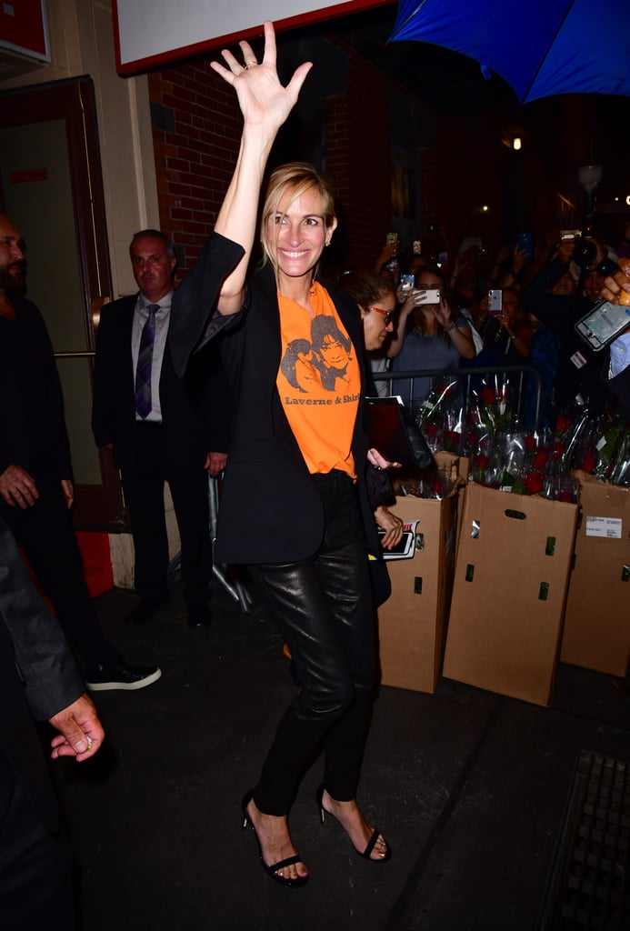 "Julia Roberts attended a special performance of Broadway's Pretty Woman: The Musical in NYC on Thursday night, and it brought back so many memories. Not only did Julia hit the red carpet with the late Garry Marshall's wife, Barbara, but Julia wore an orange Laverne & Shirley T-shirt in honor of the late director (Garry cocreated the '70s show). ""Julia was super sweet to the cast backstage, and so so approachable and warm,"" a source told People. ""Usually backstage meet and greets are quick, but Julia spent extensive time chatting with everyone and complimenting their performances."" One of Julia's most iconic movie roles was in 1990's Pretty Woman as Vivian Ward with Richard Gere. Wow, Julia has come a long way since then.       Related:                                                                                                           13 Photos of BFFs George Clooney and Julia Roberts That'll Make You Want in on the Joke"