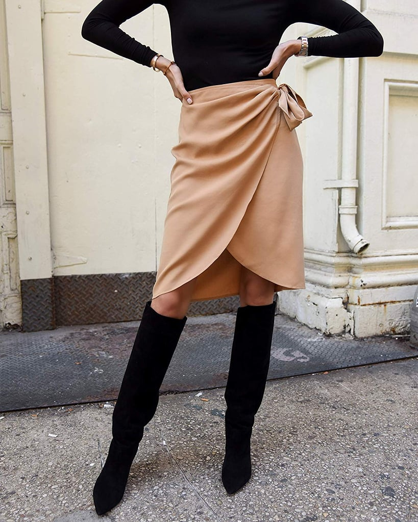 The Drop Women's Tan Wrap Side-Tie Knee-Length Skirt by @lisadnyc
