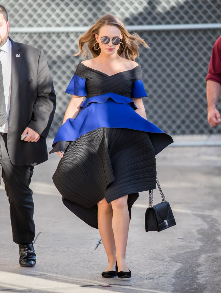 Natalie's dress was party on top and practical on the bottom thanks to a pair of black flats.