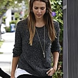 Jessica Alba jazzed up her gray Inhabit sweater via this 7FAM X Nikki Reed necklace ($68) during a day out in LA.