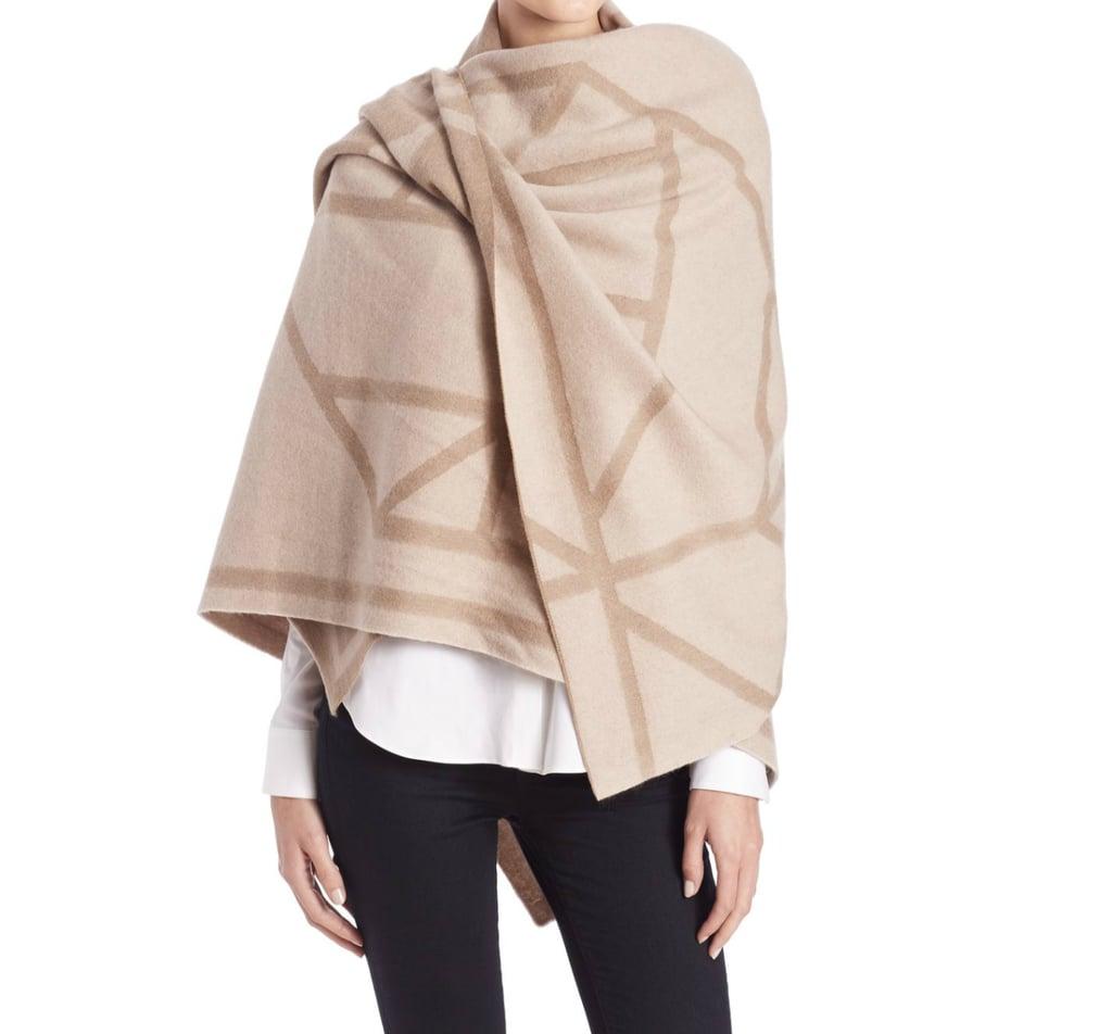 Tory Burch Fret Jacquard Wool & Cashmere Blanket Scarf  ($350)