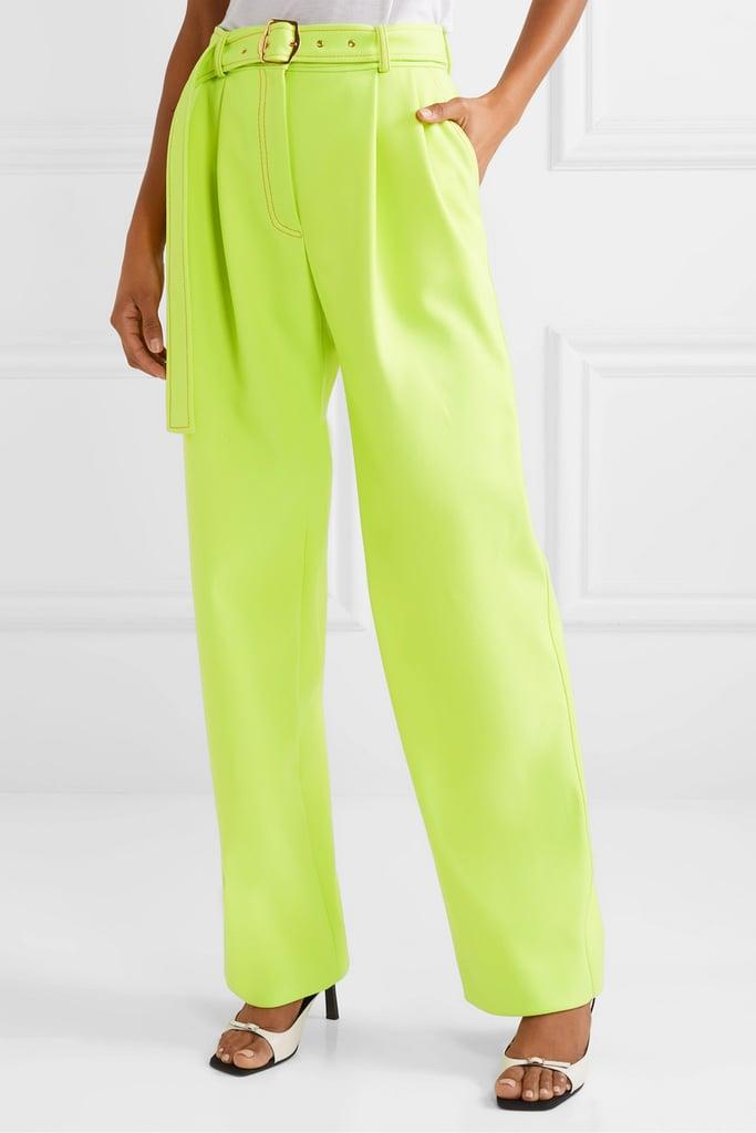 Sies Marjan Blanche belted pleated twill wide-leg pants