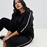 ASOS Design Curve Tracksuit Cute Sweat / Basic Jogger With Tie With Contrast Binding
