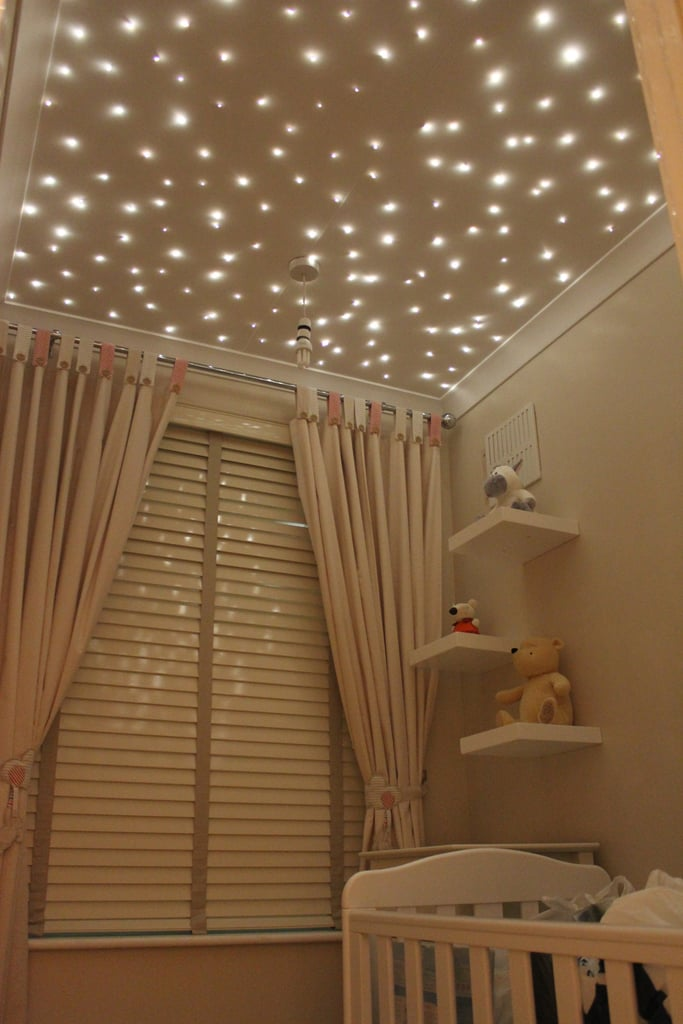 For a starry ceiling, consider fiber-optic lights. Starscape sells custom kits for this kind of project, no matter the size of your nursery or playroom!