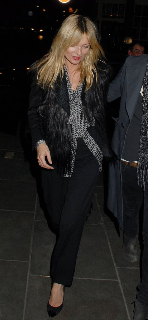 Kate Moss stepped out in a black fur coat.