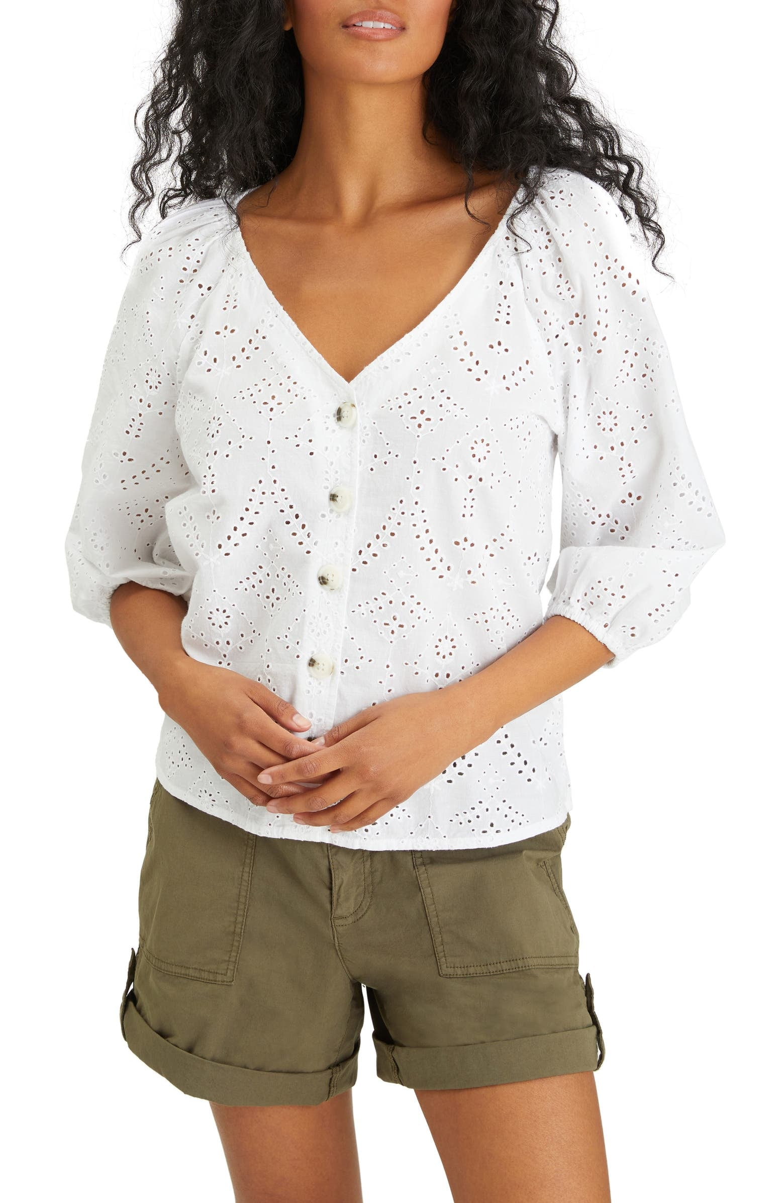 Sanctuary Modern Eyelet V-Neck Blouse | These 24 White Tops Are  Bestsellers, and It's No Wonder — They're All Under $75 | POPSUGAR Fashion  Photo 19