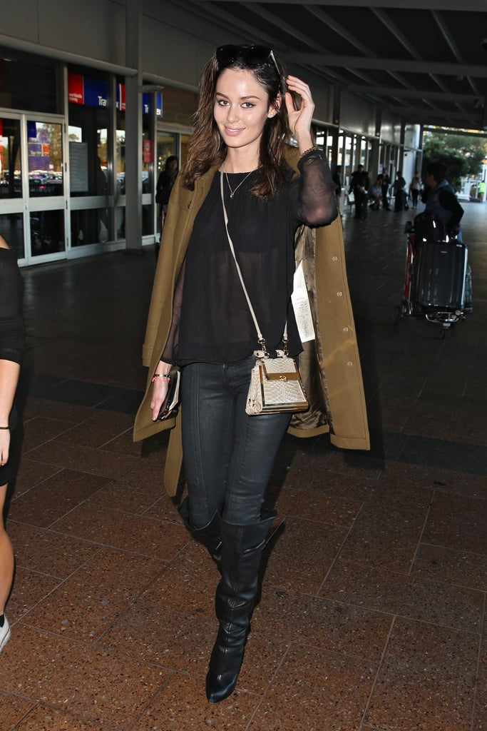 Nicole Trunfio In Boots And Camel Coat At Sydney Airport